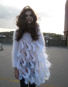 Hand knitted white mohair dress, £157