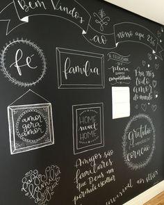 Blackboard Wall, Chalk Wall, Chalkboard Lettering, Chalkboard Quotes, Brush Lettering, Lettering Design, Different Lettering, Menu Boards, Lettering Tutorial