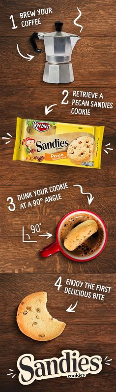 Making a coffee-soaked Keebler Pecan Sandies Shortbread cookie is the easiest recipe you'll ever follow, and it sure is one of the tastiest! The light, buttery flavor of the cookie is perfect with your favorite cup of coffee.