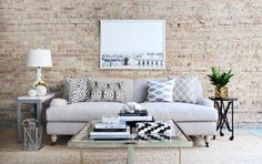 The EveryGirl x Interior Define sofa! Am I the only one who love's those classic, feminine lines? Don't forget, you can snag off your favorite Interior Define couch from now until Sept Custom Sofa, Piece A Vivre, Living Room Inspiration, Home Living Room, Room Decor, Decoration, Rose Shop, Brick Wall, Exposed Brick