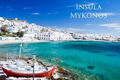 Insula Mykonos este situate in sudul marii Egee in arhipelagul Cicladelor, intre Tinos, Syros, Paros si Naxos. Este considerata cea mai frumoasa insula din Grecia avand un farmec aparte si este preferata starurilor. Casele in alb, balcoanele acoperite de flori sunt doar detalii care fac zona de poveste.
