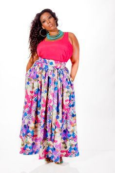 JIBRI Plus Size High Waist Printed Maxi Skirt (attached wrap belt) Curvy Girl Fashion, Plus Size Fashion, Fashion Models, Diva Fashion, Ladies Fashion, Skirt Fashion, Womens Fashion, Plus Size Girls, Plus Size Women