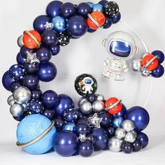 Balloon Decorations Party, Birthday Party Decorations, Nasa Party, Astronaut Party, 2nd Birthday Party Themes, Birthday Ideas, Outer Space Party, Photos, Space Theme
