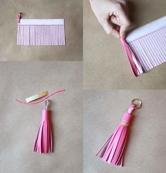 Easy tassel idea - fringe cut a length of leather, fabric or felt and roll, add a loop to the top before rolling! :)
