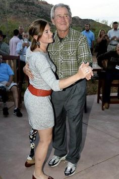 """How many people know that host a few Wounded Warriors 10 weekends at his ranch every year?  Every year!  Not what you expect to see! Dancing with a """"Wounded Warrior"""" who has lost a leg, but she still dances. I guarantee we will never see a story or picture like this from NBC, CBS, ABC, The New York Times, The Washington Post. You will only see Michelle, and the Kids go on one of their 14 vacation weekends a year!!"""