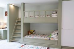 Gray-Bunk-Bed-With-Stair-For-Kids