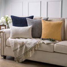 Navy Blue Pillows, Yellow Throw Pillows, Decorative Throw Pillows, Beige Couch Decor, Light Gray Couch, Living Room Pillows, Sofa Pillows, Throw Pillows For Couch, Travel Pillows