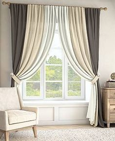 3 Different Light Weight Curtains Linen Or Voiles Pinch Pleated