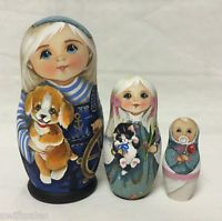 Matryoshka Russian Wooden Nesting Dolls - 3 Pieces Unique Coloring Set #6