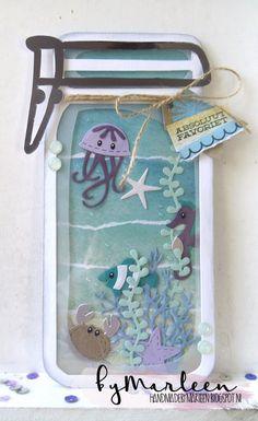 card sea critters mason jar jellyfish crab seaweed fish water summer seaside beach aqvarium by Marleen Seaside Theme, Seaside Beach, Marianne Design Cards, Pots, Card Tutorials, Cool Cards, Anniversary Cards, Sea Creatures, Punch Art