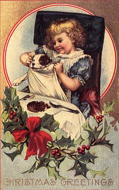 Doggy About to Have His Christmas Dinner--Vintage Christmas Postcard
