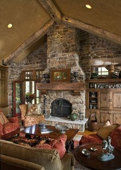 rustic stone wall, custom built-in cabinetry and vaulted ceiling, mountain retreat-SR