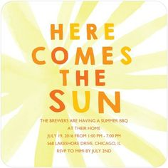Striking Sunburst - Party Invitations with Square Corners, Want to save on postage? Choose our modified rectangular envelopes for your square card order. Summer Bbq, Summer Parties, Unique Invitations, Shower Invitations, Tiny Prints, Square Card, Custom Cards, Perfect Party, Crafts To Make