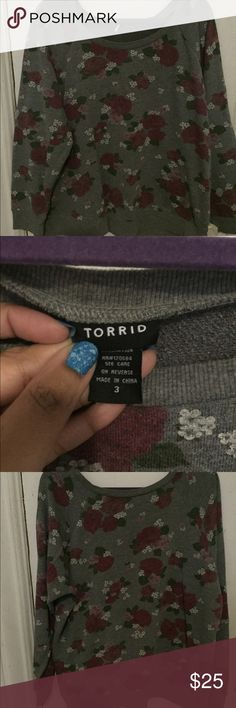 Torrid rose pullover sweater Torrid grey sweater with Rose design. Good condition. Has some wash wear. Price firm. No trades. Thanks for looking! :) torrid Sweaters