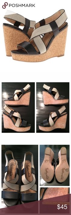 """Splendid 'Kellen' Wedge Sandal Strappy sandal with a cork wedge. Black and nude are the perfect combination to keep the sandal looking light on your feet, as well as pair with anything (dresses or jeans). Comfortable platform wedge (heel height = 4.75""""). The strap that wraps around the heel is elastic, so it moves with you = no rubbing! The leather toe strap is on trend and stylish! Loved these but they run a little wide for my feet and my heel kept slipping out.  Worn only once. Priced to…"""