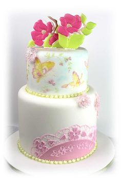 So very pretty  ~ wedding Cake ~ Hand painted, piped sand all sugar flowers