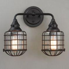 Rustic Loft Cage Bath Light - 2 Light bronze