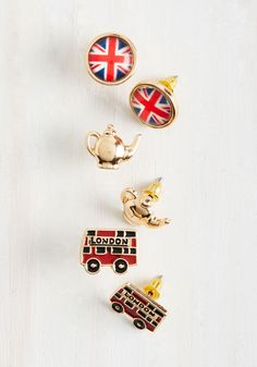 Here to Cheerio You Up Earring Set. Accessorizing with these quirky earrings will spread your stylish delight all the way across the pond! #gold #modcloth