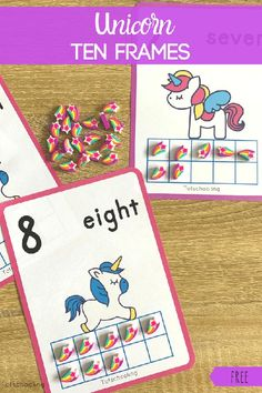 FREE printable unicorn-themed counting cards for preschoolers to learn ten frames. Great for a math center or a busy bag. Perfect learning activity for unicorn lovers! Number Sense Kindergarten, Kindergarten Math, Preschool, Learning Numbers, Math Numbers, Division Math Games, Tot School, Middle School, Math Graphic Organizers