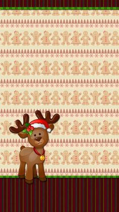 Baby reindeer on a gingerbread-man background. Christmas Drawing, Christmas Paintings, Christmas Paper, Christmas Time, Xmas, Christmas Phone Wallpaper, Holiday Wallpaper, Winter Wallpaper, Illustration Noel