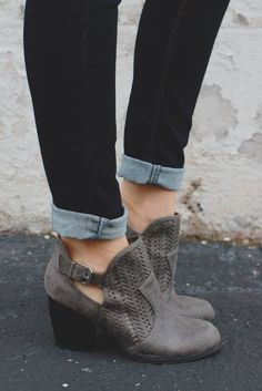 Grey Round Toe Cut Out Perforated Booties Maze-125 – UOIOnline.com: Women's…