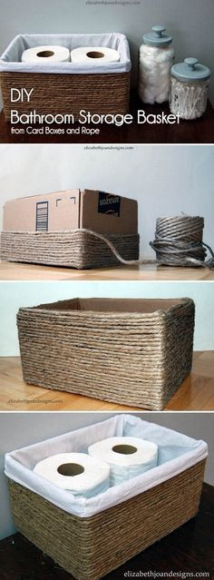 diy box Check out the tutorial on how to make a rustic storage basket from a carton box and rope Diy Storage Boxes, Storage Baskets, Storage Ideas, Storage Solutions, Budget Storage, Ribbon Storage, Basket Shelves, Decorative Storage, Diy Box