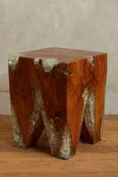 Anthropologie Resin-Coated Pine Side Table #anthrofave
