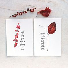 Autumn Leaf and Winterberry Prints with Camus Quotes