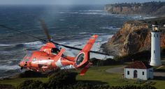A U.S. Coast Guard MH-65C Dolphin helicopter.