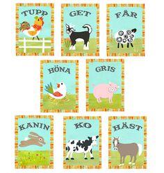 Swedish Farm Animal Cards