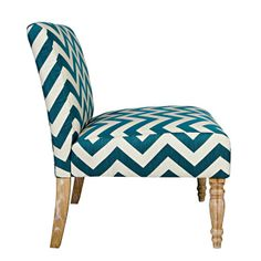 angelo:HOME Bradstreet Chair in Teal Blue Chevron Living Rooms, Bedrooms, Dining, Kids and Mattresses