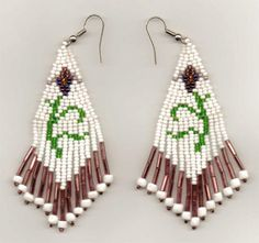 Native American Seed Bead Patterns | These seed bead earrings feature a beautiful floral design done in ...