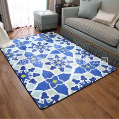 Mediterranean Style Carpets For Living Room Home Bedroom Rugs And Carpets Coffee Table Area Rug Blue Aegean Sea Mat