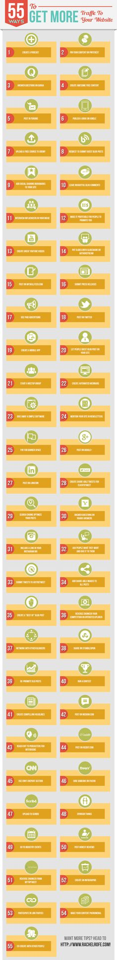55 ways to get more traffic to your website. Like this? Follow @rachelrofe :)