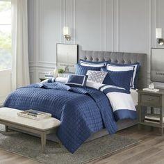 Comforters & Comforter Sets You'll Love in 2021 | Wayfair King Comforter, Comforter Sets, Blue And White Comforter, Beige Headboard, Hotel Collection Bedding, Teen Girl Bedrooms, Teen Bedroom, Modern Bedroom, Hotel Bed