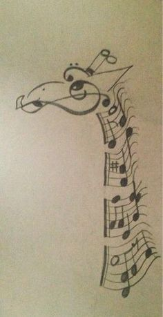 Giraffe made out of music notes. Very creative ide. Giraffe made out of music notes. Very creative idea. The artist did a great job. Music Drawings, Cool Drawings, Afrique Art, Giraffe Art, Giraffe Drawing, Baby Giraffes, Music Tattoos, Amazing Art, Awesome