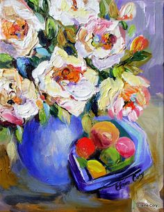 """White Flowers Still Life Painting"" - by Elaine Cory"