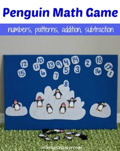 DIY Penguin Math Game: Numbers, Patterns, Addition & Subtraction (from Coffee Cups & Crayons)
