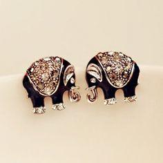 Pair of Cute Sweet Rhinestone Elephant Earrings For Women, COLOR ASSORTED in Earrings   DressLily.com