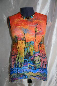 """Купить комплект """"Старая Европа"""" - рисунок, город, городской пейзаж, городок, туника, туника валяная"""