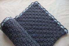 Baby Boy Blanket - Crochet baby blanket - Crib size Denim Blue Panel Shells Baby Boy Blanket. $69.99, via Etsy.
