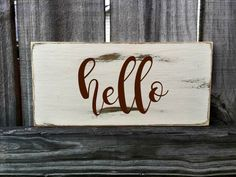 HELLO Rustic Sign / Distressed Wooden Sign / HOME Vintage Sign / HOME Rustic…