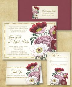 DIY red poppy wedding invitation set - templates from Download & Print