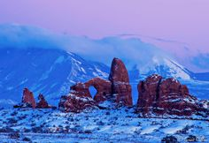 Turret Arch at twilight: The Belt of Venus is seen above the Turret Arch and the La Sal Mountains (Moab, Utah) #BeltOfVenus