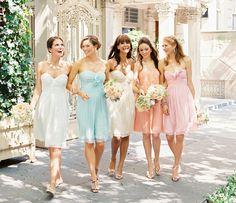 Pastel wedding - via Bridal Musings- Lover. Mix Match Bridesmaids, Pastel Bridesmaids, Bridesmaids And Groomsmen, Wedding Bridesmaids, Rainbow Bridesmaids, Bridesmaid Colours, Wedding Attire, Bridal Musings, Pastel Bridesmaid Dresses