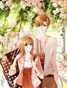 Love like cherry blossoms Manga Anime, Anime Couples Manga, Manhwa Manga, Cute Anime Couples, Manga Art, Anime Guys, Anime Art, Couple Manga, Anime Love Couple