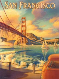 The Golden Gate, as if Maxfield Parish had painted it.