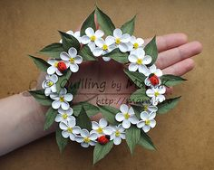 Quilled Apple Blossom Wreath http://manuk.ro/en/ 'Quilling by Manuk'