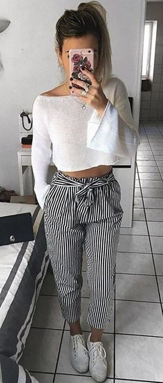 #Summer #Outfits / Long Sleeves White Top + Striped Palazzo Pants