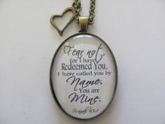 Bible Verse Pendant Necklace Fear not for I by RedeemedJewelry, $16.00